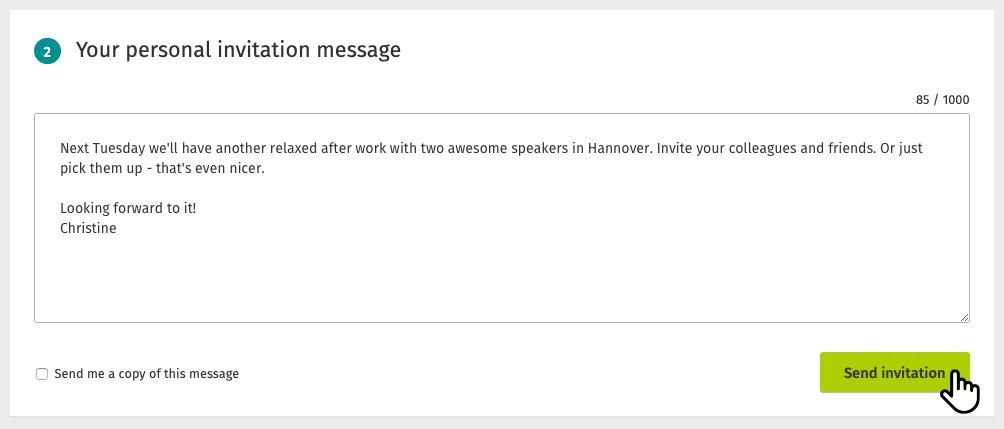 Invite your group members with a nice personal message